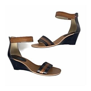 Tommy Hilfiger Black & Tan Low Wedge Sandals